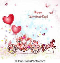 kocsi, valentines, leány
