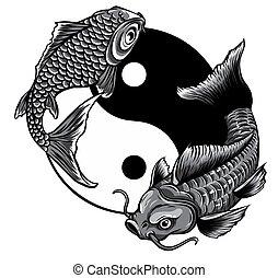 koi, egyszínű, művészet, yang, fish, yin, vektor, ábra