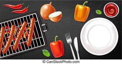 kolbász, ábra, veggies, poster., realistic., hús, üres, étrend, tányér, grill, vektor, 3, részletes