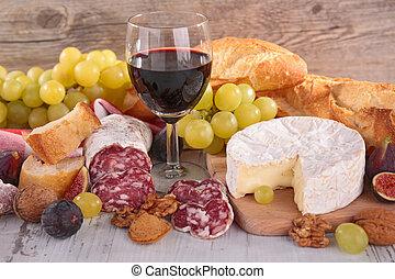 kolbász, bread, sajt, bor