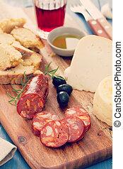 kolbász, sajt, bor, füstölt, piros, bread
