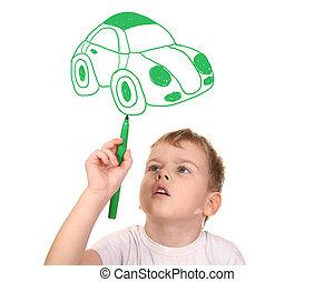 kollázs, övé, rajz, autó, gyermek