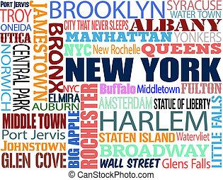 kollázs, új, különféle, york, szavak
