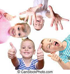 kollázs, fehér, jóváhagy, gyerekek, gesztus