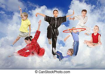 kollázs, fehér, sport, elhomályosul, gyerekek