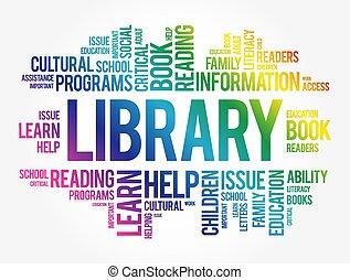 kollázs, felhő, könyvtár, szó