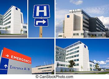 kollázs, kórház, modern
