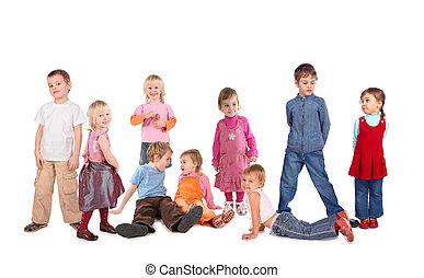 kollázs, sok, gyerekek, fehér