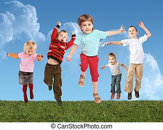 kollázs, sok, ugrás, fű, gyerekek