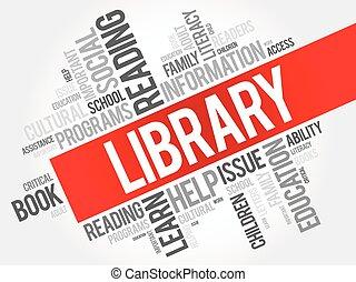 kollázs, szó, könyvtár, felhő