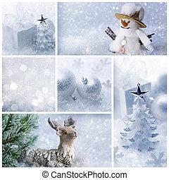 kollázs, white christmas