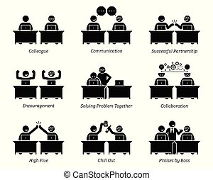kolléga, társ, ügy, dolgozó, hivatal., együtt, workplace, eredményesen