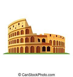 kolosszeum, ősi, olasz, amfiteátrum, amphitheatre., rome., vektor, ábra, lakás, vagy