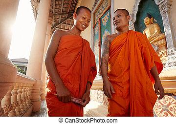 kolostor, buddhista, majmok, ázsia, két, találkozik, üdvözöl