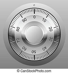 kombináció, wheel., zár, páncélszekrény, ábra, gyakorlatias, vektor