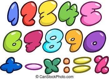 komikus, buborék, számok
