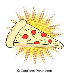 komikus, szelet, pizza, ikon