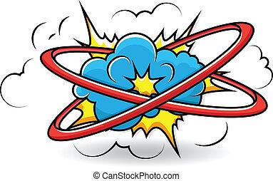 komikus, vektor, felrobbanás, könyv, felhő