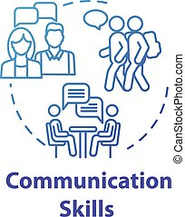 kommunikáció, ütés, gondolat, community., icon., áttekintés, szakértelem, socialization, editable, tehetség, csoport, drawing., rgb, egyenes, beleértett, híg, szín, dialog., oktatás, vektor, fogalom, illustration., elszigetelt