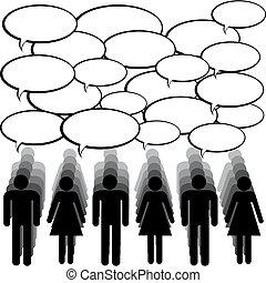 kommunikáció, fogalom, emberek, chating