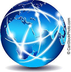 kommunikáció, globális, világ, kereskedelem