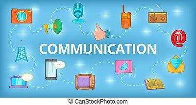 kommunikáció, mód, transzparens, karikatúra, horizontális