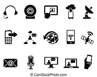 kommunikáció, modern, állhatatos, ikonok