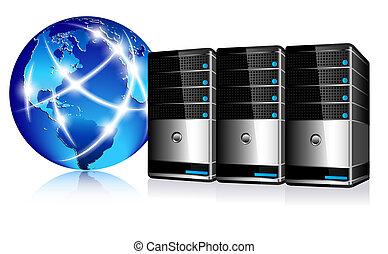 kommunikáció, servers, internet