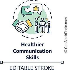 kommunikáció, szakértelem, ikon, fogalom, egészségesebb