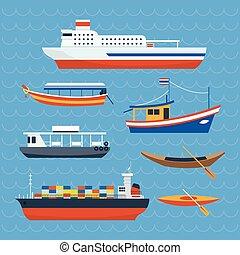 komp, fajta, hajó, különféle, csónakázik