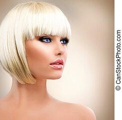 konfekcionőr, leány, portrait., hair., elegáns, hairstyle., szőke, szőke