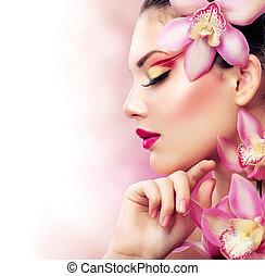 konfekcionőr, leány, teljes, flowers., orhidea, gyönyörű