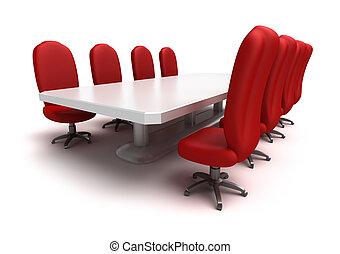 konferencia asztal, elnökké választ, piros
