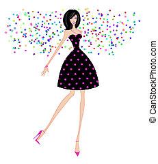 konfetti, fél, nő, ruha, sikk