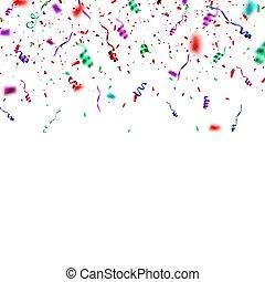 konfetti, háttér., fehér, felrobbanás, elszigetelt