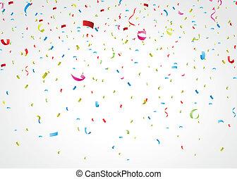 konfetti, színes, fehér
