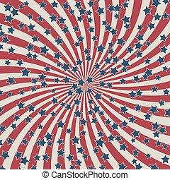 konfetti, vektor, csíkoz, egyesült államok, csillaggal díszít, egyesült, háttér, munka, patrióta, hazafias, flag., nap, vagy, körkörös, befest, amerikai, retro, illustration.