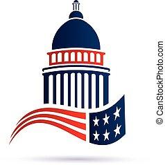 kongresszus székháza washingtonban, vektor, flag., tervezés, jel, amerikai, épület