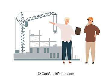 konstruál, profi, építő, szerkesztés munkás, társalgás., építészmérnök, vektor, mód, lakás, brigádvezető, ábra, ipari, karikatúra, háttér., elszigetelt, white hím, discussion., házhely