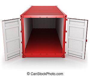 konténer, kinyitott, elszigetelt, rakomány, elülső, piros, kilátás