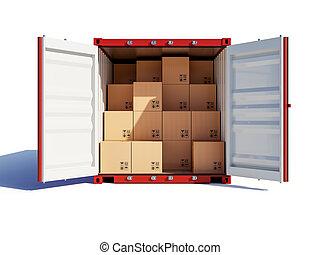 konténer, kinyitott, kartonpapír, rakomány