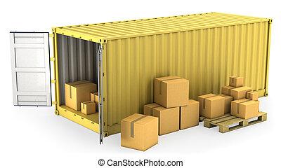 konténer, kinyitott, sárga, dobozok, sors, kartondoboz