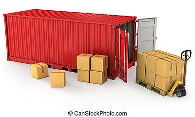 konténer, kinyitott, sok, szalmaágy, dobozok, kartondoboz, piros