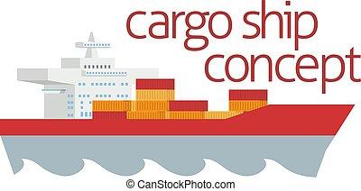 konténer, logisztika, fogalom, teherhajó
