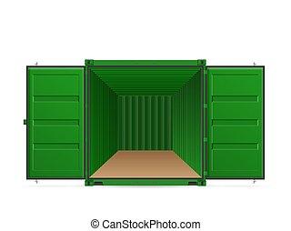 konténer, nyílik, hajózás, rakomány