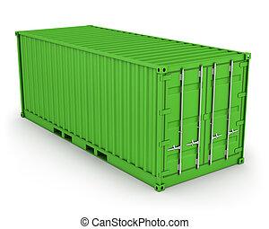 konténer, rakomány, elszigetelt, zöld