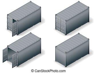 konténer, rakomány, isometric, 2, állhatatos