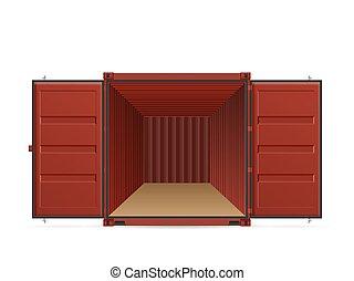 konténer, rakomány, nyílik, hajózás