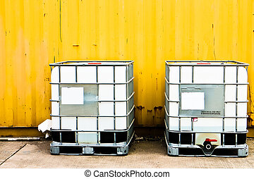 konténer, rakomány, sárga, fehér