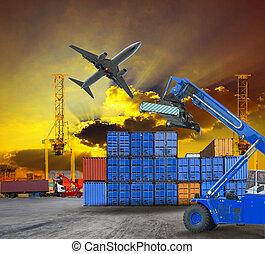 konténer, udvar, rév, hajó, színhely